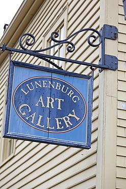 Low angle view of Lunenburg Art Gallery signboard, Nova Scotia, Canada