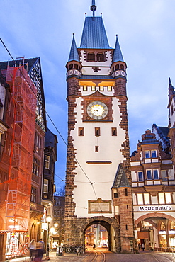View of buildings and St. Martin's Gate of Freiburg, Germany