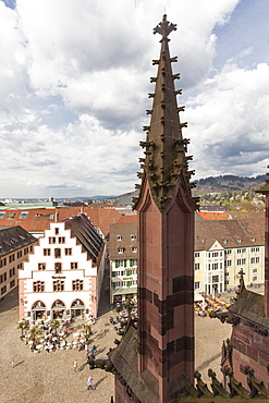 View of Old Town Cathedral Square from Munster, Freiburg, Germany