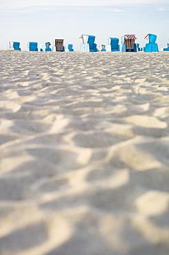 Colourful beach chairs on the sandy beach at Ahrenshoop, Fischland-Darss-Zingst peninsula