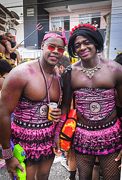 Young men dressed in costume for carnival, Salvador, Bahia, Brazil, South America