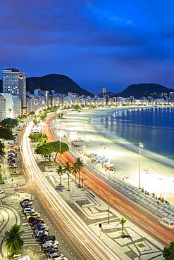 Copacabana beach at night, Rio de Janeiro, Brazil, South America
