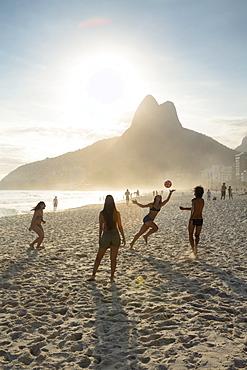People playing altinha (football) on Ipanema beach, Rio de Janeiro, Brazil, South America