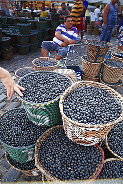 Acai berries for sale in the morning market, Belem, Para, Brazil, South America