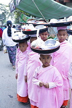 Buddhist nuns in traditional robes, Monywa, Sagaing, Myanmar, Southeast Asia
