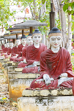 Thousands of sitting buddhas in the park of a thousand bodhi trees - Maha Bodhi Ta HtaungHtaung, Monywa, Sagaing, Myanmar (Burma), Southeast Asia