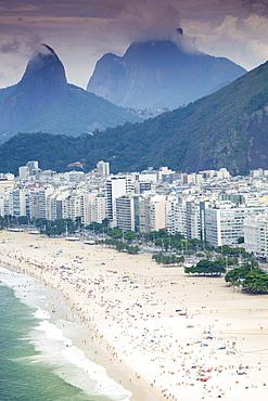 Morro dos Dois Irmaos and Pedra da Gavea, Ipanema Beach, Rio de Janeiro, Brazil, South America