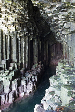 View of basalt columns in Fingal's Cave on the isle of Staffa, Inner Hebrides, Scotland, United Kingdom, Europe
