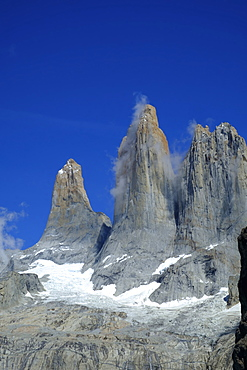 The rock towers that give the Torres del Paine range its name, Torres del Paine National Park, Patagonia, Chile, South America