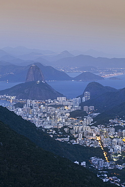 The Sugar Loaf and Rio de Janeiro landscape from Tijuca National Park, Rio de Janeiro, Brazil, South America