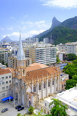 Church of the Immaculate Conception (Imaculada Conceicao) and the Christ on Corcovado mountain from Botafogo neighbourhood, Rio de Janeiro, Brazil, South America