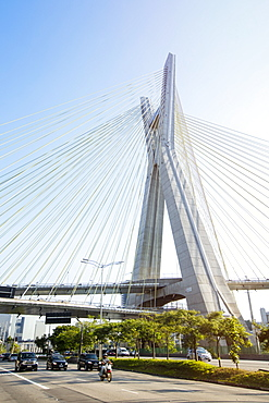Octavio Frias de Oliveira Bridge by Joao Valente Filho in the Brooklin district of Sao Paulo, Brazil, South America