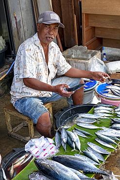 A man selling fish in the local city market, Masohi, Seram, Indonesia, Southeast Asia, Asia