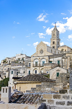 The ancient Matera Cathedral in the historical center called Sassi perched on rocks on top of hill, Matera, Basilicata, Italy, Europe