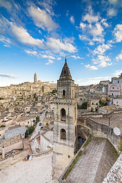 View of the ancient town and historical center called Sassi, perched on rocks on top of hill, Matera, Basilicata, Italy, Europe