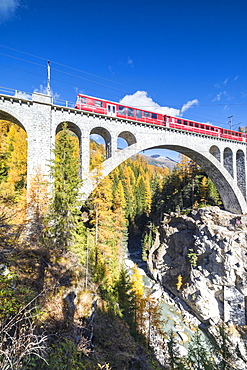 The red train on viaduct surrounded by colorful woods, Cinuos-Chel, Canton of Graubunden, Engadine, Switzerland, Europe