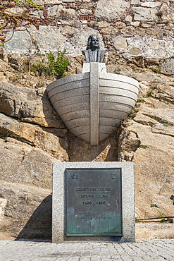 The memorial monument of Christopher Columbus, Calvi, Balagne Region, northwest Corsica, France, Europe