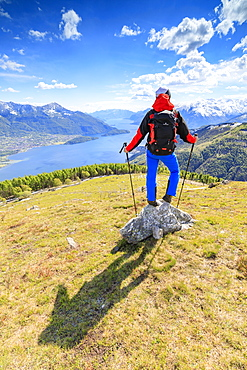 Hiker on green meadows admires Lake Como surrounded by woods, Montemezzo, Alpe Zocca, Lombardy, Italian Lakes, Italy, Europe