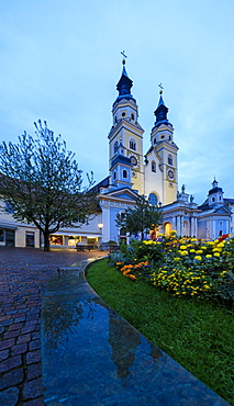 Panoramic of the Cathedral of Brixen (Bressanone) illuminated at night, province of Bolzano, South Tyrol, Italy, Europe