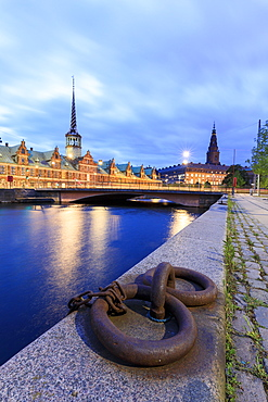 The Church of Holmen and the House of Parliament, Christiansborg Palace in central Copenhagen, Denmark, Europe