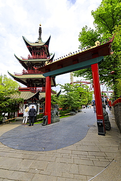 Pagoda in the famous amusement park of Tivoli Gardens, Copenhagen, Denmark, Europe