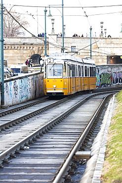 Yellow tram, Budapest, Hungary, Europe