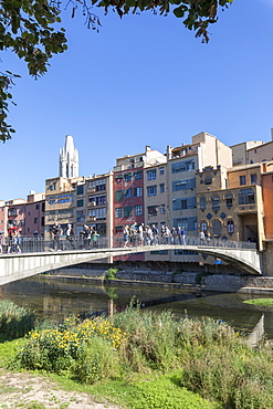 Princess Bridge on River Onyar, Girona, Catalonia, Spain, Europe
