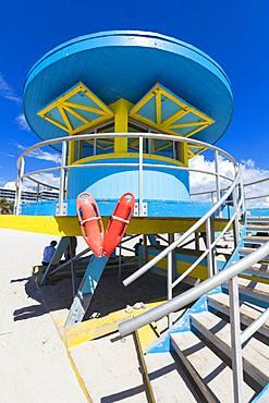 Lifeguard tower, South Beach, Miami, Florida, United States of America, North America
