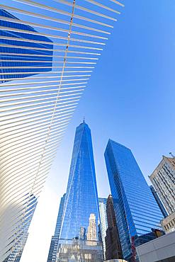The Oculus Building and Freedom Tower, One World Trade Center, Lower Manhattan, New York City, United States of America, North America