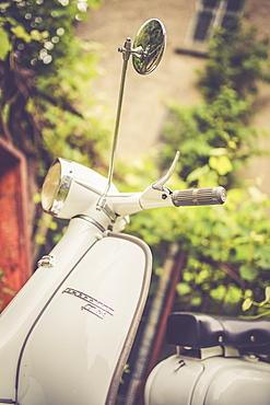 Handlebar and front shell of iconic Lambretta Innocenti scooter, Morbegno, province of Sondrio, Valtellina, Lombardy, Italy, Europe
