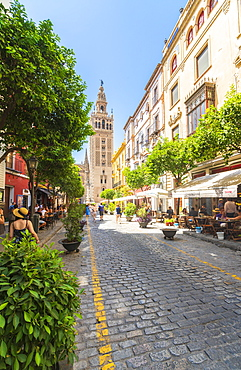 The iconic Giralda bell tower seen from the shopping street Calle Mateos Gago, Seville, Andalusia, Spain, Europe