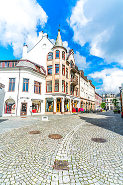 Kongens Gate, the most busy shopping street in Alesund, More og Romsdal county, Norway
