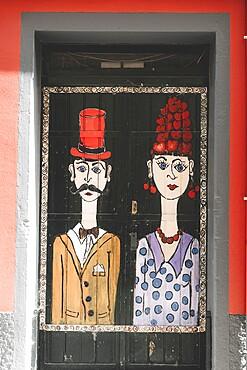 Painted door, Rua de Santa Maria, Funchal, Madeira island, Portugal