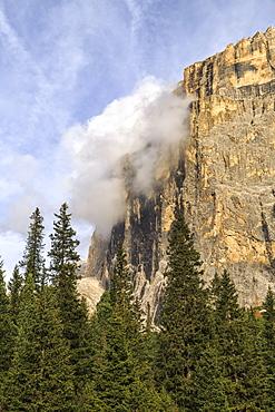 Autumn landscape at Sella Pass, Fassa Valley, Trentino-Alto Adige, Dolomites, Italy, Europe