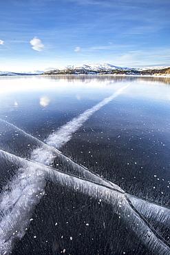 The frozen Lake Limingen, Rorvik, Borgefjell National Park, Trondelag, Norway, Scandinavia, Europe