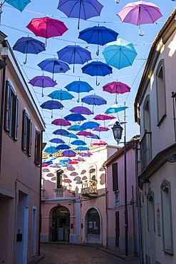 Umbrellas Street in Pula, Sardinia, Italy, Europe