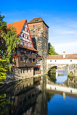 Old timbered houses and hanging tower, Nuremberg, Middle Franconia, Bavaria, Germany, Europe