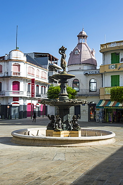 Fountain on the spice market, Pointe-a-Pitre, Guadeloupe, French Overseas Department, West Indies, Caribbean, Central America