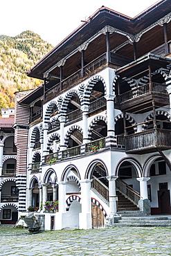 Inner courtyard, Rila Monastery, UNESCO World Heritage Site, Rila mountains, Bulgaria, Europe