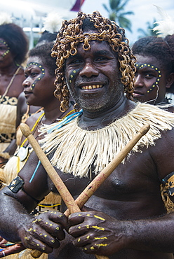 Traditionally dressed man from a Bamboo band, Buka, Bougainville, Papua New Guinea, Pacific