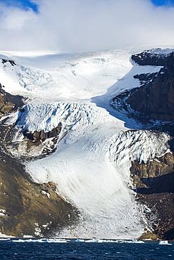 Glacier on Brown Bluff huge volcanic basalt, Tabarin Peninsula, Antarctica, Polar Regions