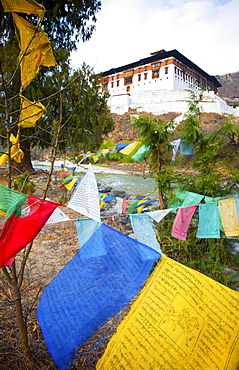 Prayer flags and Rinpung Dzong, Paro District, Bhutan, Asia