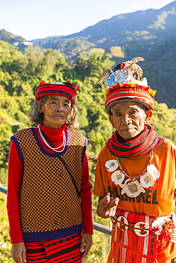 Portrait of an elderly couple in traditional clothes, Banaue, Luzon, Philippines, Southeast Asia, Asia
