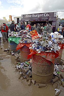Uk rubbish accumulated at glastonbury. 2007 england