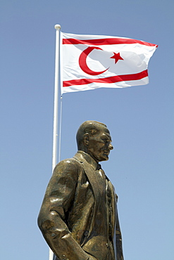 Statue of Ataturk with the flag of the Turkish occupied north Cyprus in Kyrenia