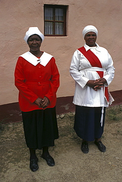 Religion, south africa. Eastern cape. Women of a pentecostal religious sect