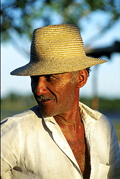 Brazil, labourer in a landless peasants community in bahia state.