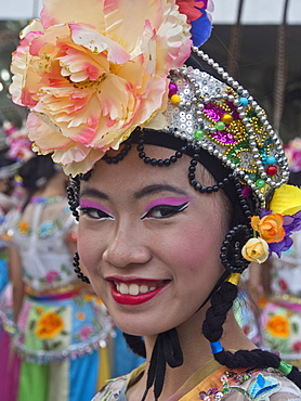 Dancers and performers at the traditional yearly Chingay festival in Singapore, Southeast Asia, Asia