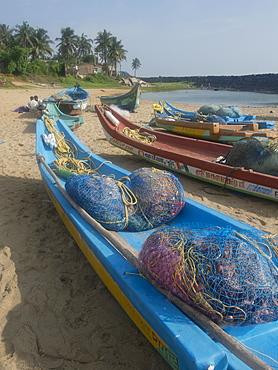 Fishing boats and nets on the beach at the French union territory of Pondicherry, Tamil Nadu, India, Asia