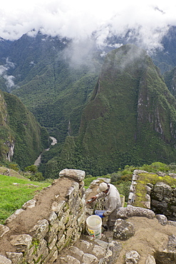 Restoration work at the Inca ruins of Machu Picchu, UNESCO World Heritage Site, Peru, South America